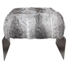 Luxe Mid-Century Modern Style Stool in Lapin Fur