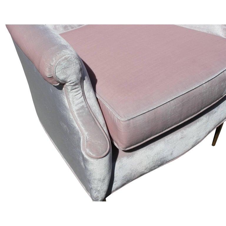 Luxe Pair of Brass Legged Modern Italian Wingback Chairs in Light Pink Velvet For Sale 1