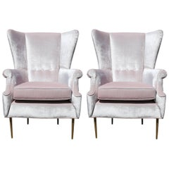 Luxe Pair of Brass Legged Modern Italian Wingback Chairs in Light Pink Velvet