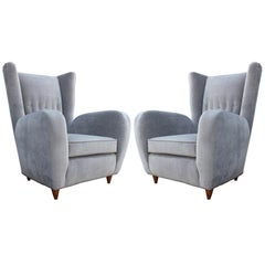 Luxe Pair of Italian Wingback Modern Lounge Chairs in Grey Velvet