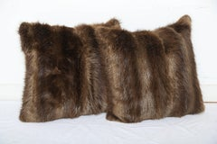 Luxe Vintage Long Haired Beaver Throw Pillows