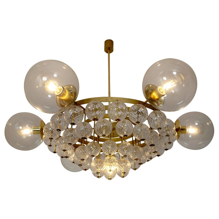 Luxerus Chandelier with Brass Fixture and Structured Glass Globes For Sale