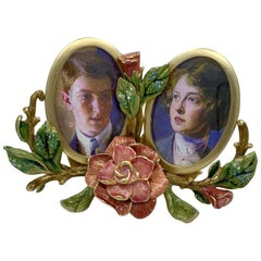 Luxuriant Jay Strongwater Double Oval Picture Frame with Enamel Jeweled Flowers