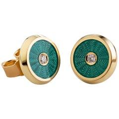 Diamond Enamel Earrings  18 Karat Yellow Gold  Diamond Stud Earrings
