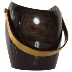 Luxurious Aldo Tura Sculptural Ice Bucket in Goatskin & Brass + Gold 1960s Italy