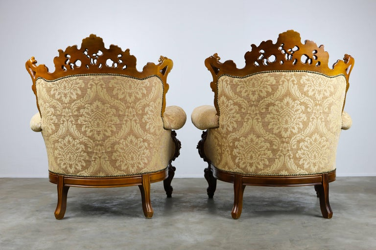 Luxurious Antique Italian Lounge Chairs in Rococo / Baroque Style Brown  Beige For Sale 1 - Luxurious Antique Italian Lounge Chairs In Rococo / Baroque Style