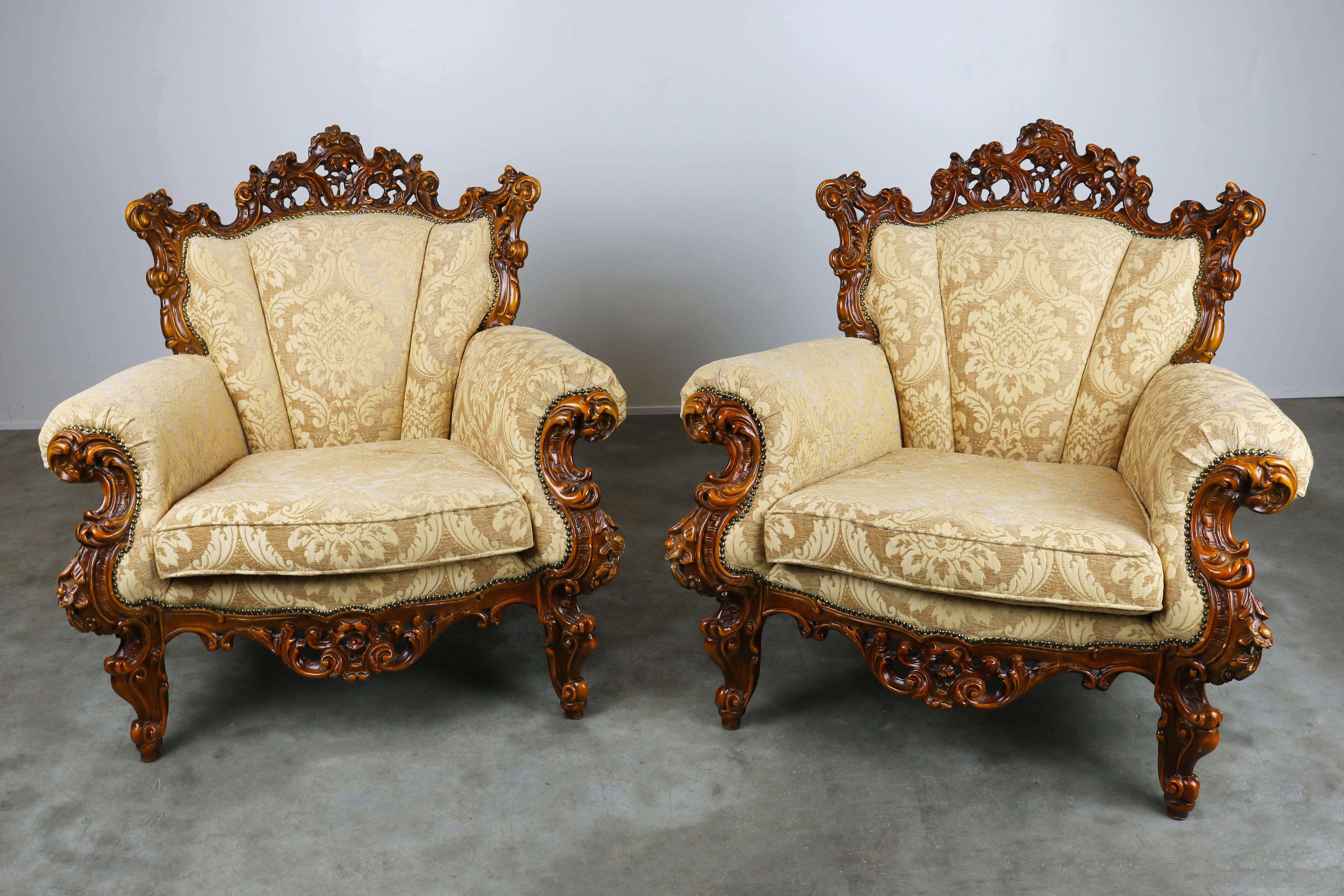 Great Luxurious Antique Italian Lounge Chairs In Rococo / Baroque Style Brown  Beige For Sale 2