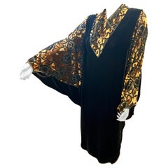 Luxurious APROPOS Black and Gold Silk Velvet Cocoon Dress Vintage 1980s Art Deco