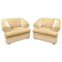 Luxurious Art Deco Custom Made Yellow Mohair Club Chairs, a Pair
