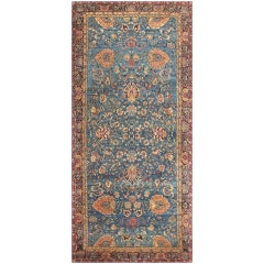 Luxurious Blue Oriental Antique Indian Agra Rug. Size: 6 ft 9 in x 14 ft 6 in
