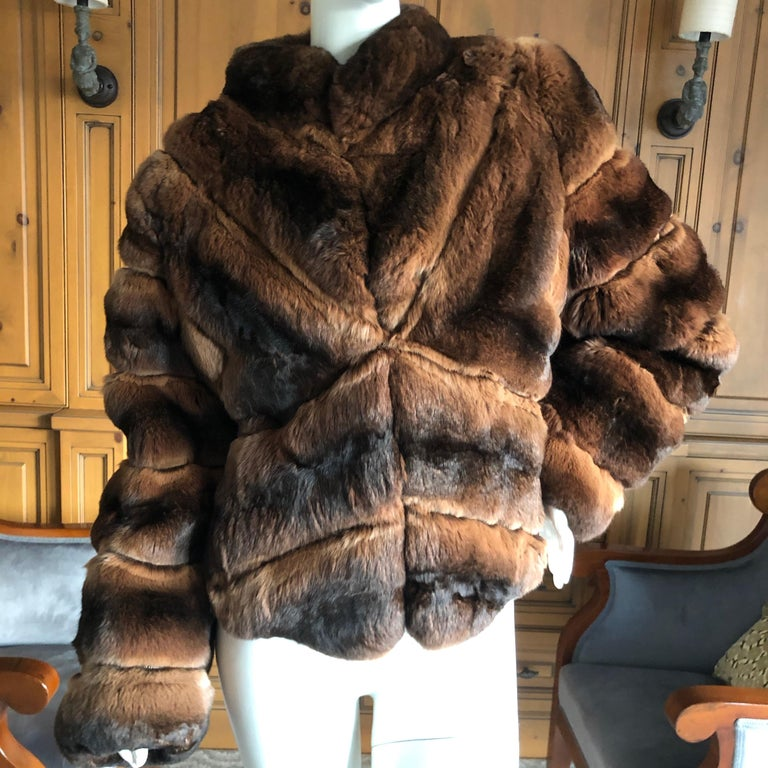 Luxurious Chevron Pattern Chinchilla Jacket from Nieman Marcus by Eric Gaskins So luxurious and soft, there is nothing quite like chinchilla.  Supple and soft pelt's Size 42 Bust 40