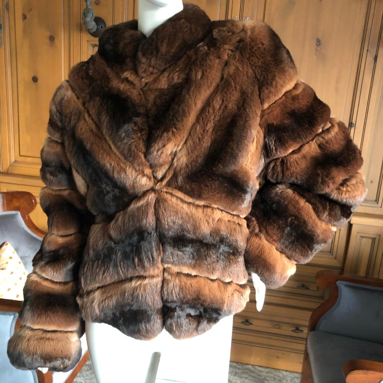 Black Luxurious Chevron Pattern Chinchilla Jacket from Nieman Marcus by Eric Gaskins