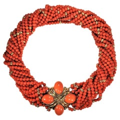 Luxurious Choker Length Gold and Vivid Orange Coral Torsade Necklace