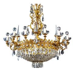 Luxurious Crystal and Brass Chandelier, Italy, 1930