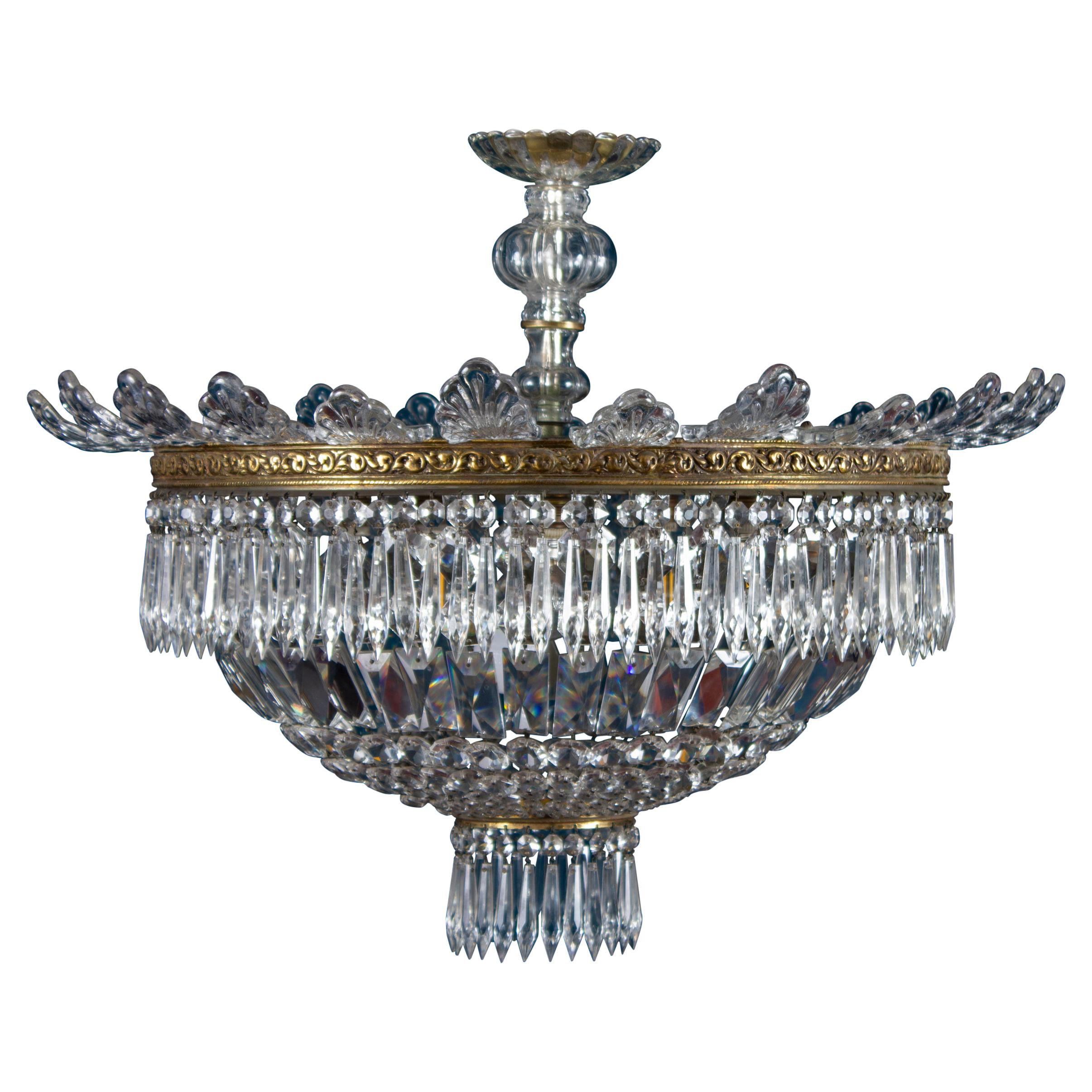 Luxurious Crystal and Brass Chandelier Italy, 1940