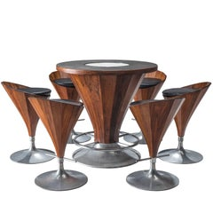 Luxurious Danish Rosewood Dry Bar Set, circa 1970