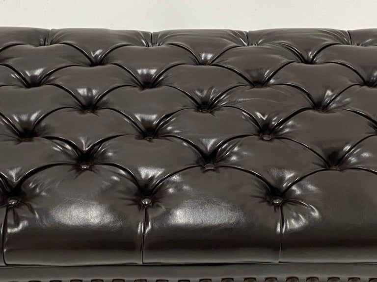 Luxurious Dark Chocolate Brown Leather Tufted Ottoman Bench For Sale 3