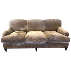 Luxurious Down Filled Taupe Silk Velvet George Smith Sofa