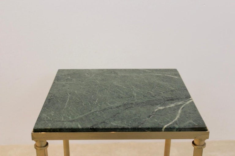 Mid-Century Modern Luxurious French Marble and Brass Side Table, 1960s For Sale