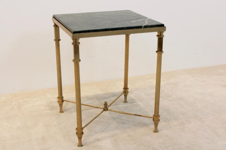 Luxurious French Marble and Brass Side Table, 1960s In Good Condition For Sale In Voorburg, NL