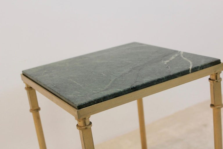 20th Century Luxurious French Marble and Brass Side Table, 1960s For Sale