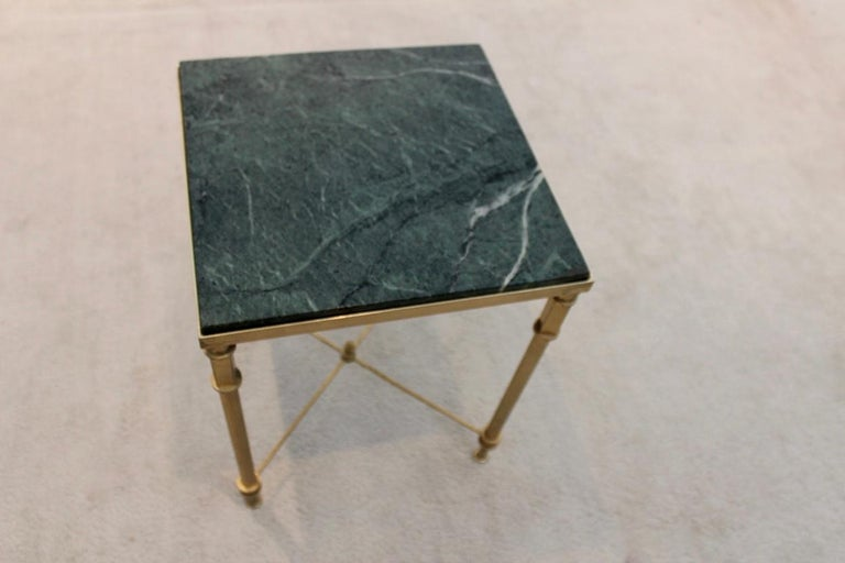 Luxurious French Marble and Brass Side Table, 1960s For Sale 1