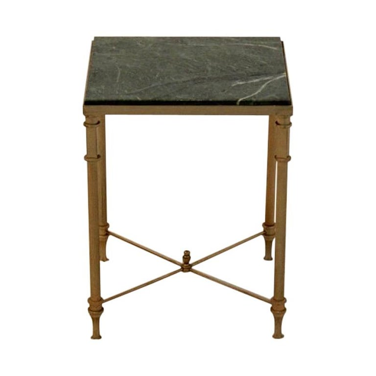 Luxurious French Marble and Brass Side Table, 1960s For Sale