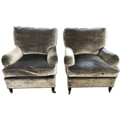 Luxurious Grey Velvet Mohair Club Chairs Attributed to George Smith