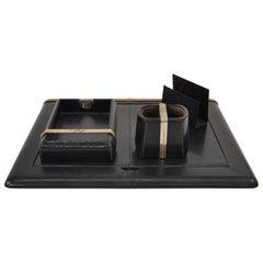 Luxurious Gucci Black Lizard Skin Horsebit Desk Set