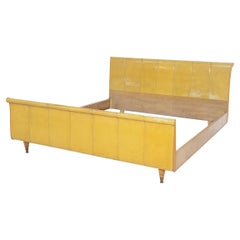 Luxurious Italian Bed in Yellow Parchment, Wood and Brass
