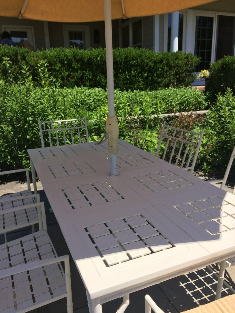 Luxurious Large Rectangular Patio Dining Table Set with Six Chairs In Excellent Condition For Sale In Hopewell, NJ