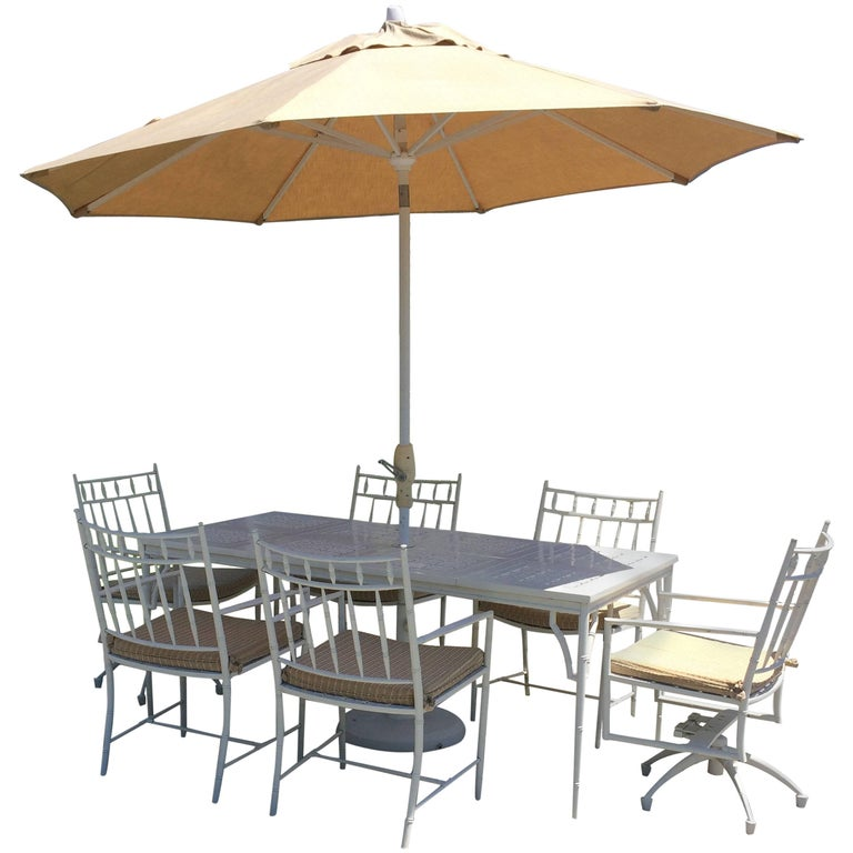 Luxurious Large Rectangular Patio Dining Table Set with Six Chairs For Sale