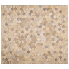 Cream Customizable Angulo Cowhide Area Floor Rug Small