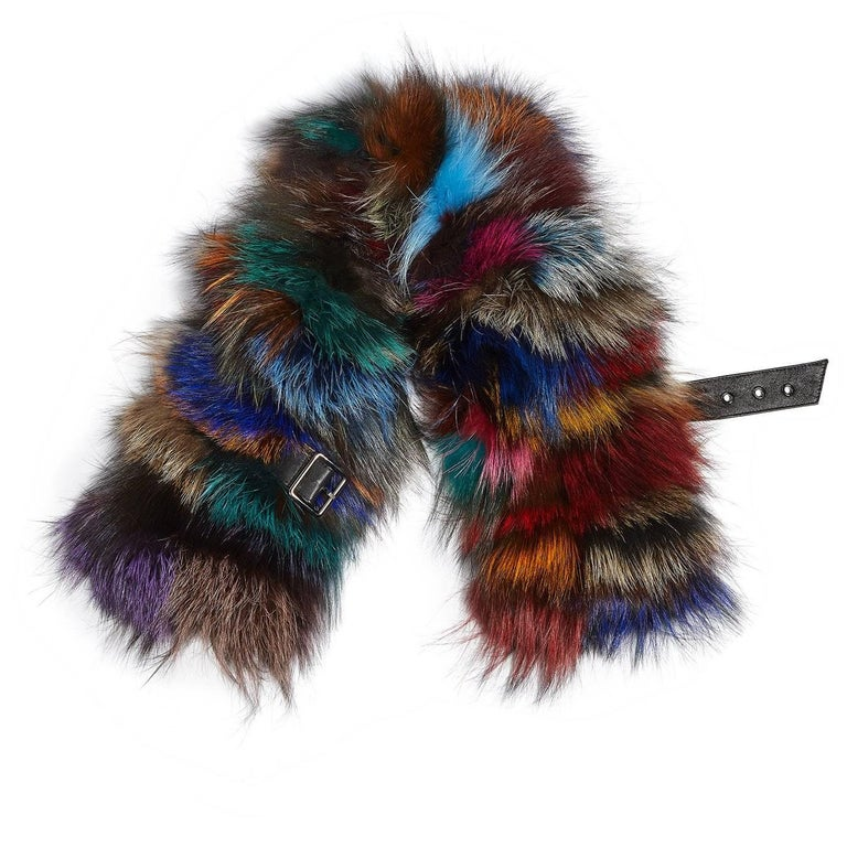 Stunning buckled Fox Fur Collar rendered in natural silver and dyed multi-colored Fox, fully lined and features a leather buckle fastening strap. Layer it over neutral coats and jackets for a Glamorous look and added warmth!