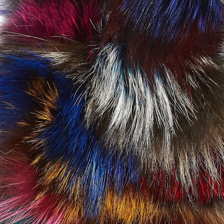 Black Luxurious Natural Silver and Multi-Colored Fox Fur Collar For Sale