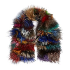 Luxurious Natural Silver and Multi-Colored Fox Fur Collar