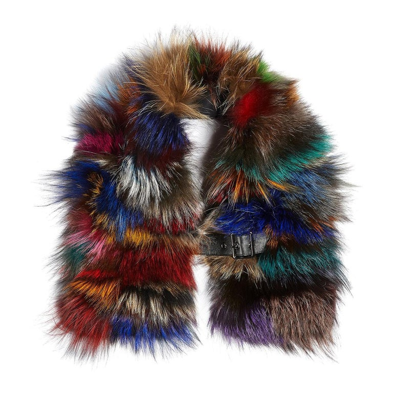 Luxurious Natural Silver and Multi-Colored Fox Fur Collar For Sale