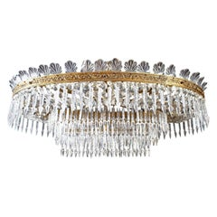 Luxurious Oval Shaped Crystal and Brass Chandelier Italy, 1940