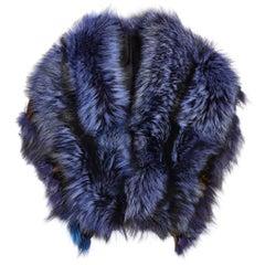 Luxurious Oversized Blue Fox Fringe Fur Collar Wrap