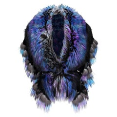 Luxurious Oversized Blue Rainbow Fox Fringe Fur Statement Stole Wrap