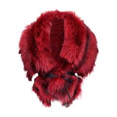 Luxurious Oversized Fireside Red Fox Fringe Fur Statement Stole Wrap