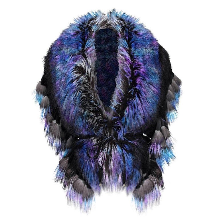 Women's Luxurious Oversized Fuchsia Fox Fringe Fur Statement Stole Wrap For Sale