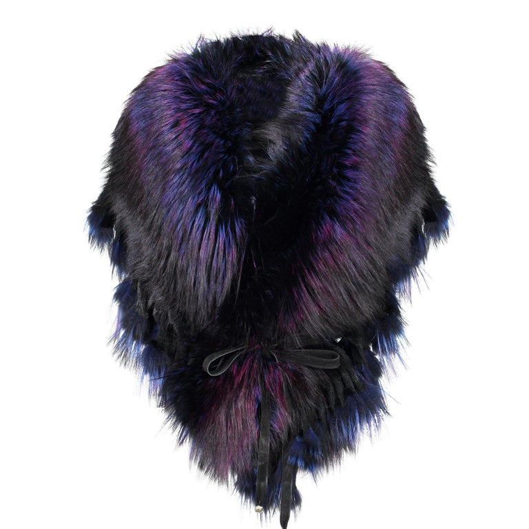 Luxurious Oversized Fuchsia Fox Fringe Fur Statement Stole Wrap For Sale 2