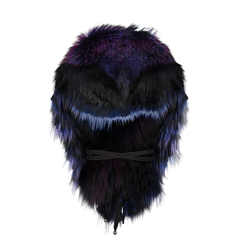 Luxurious Oversized Fuchsia Fox Fringe Fur Statement Stole Wrap For Sale 3