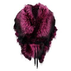 Luxurious Oversized Fuchsia Fox Fringe Fur Statement Stole Wrap