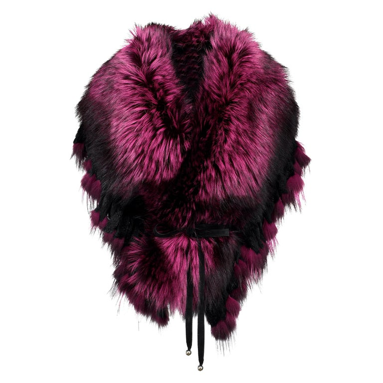 Luxurious Oversized Fuchsia Fox Fringe Fur Statement Stole Wrap For Sale