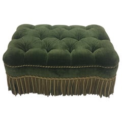 Luxurious Rectangular Green Tufted Mohair Ottoman with Fringe