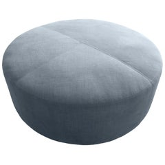 Luxurious Round Double Stitch Living Room Ottoman Foot Rest Table Handcrafted