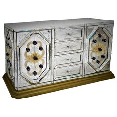 Luxurious Sideboard in Murano Glass Mirror, with Hand-Engraved, by Fratelli Tosi
