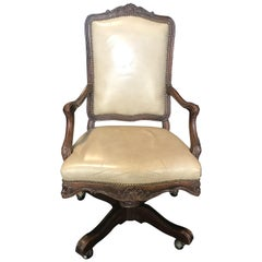 Luxurious Swivel French Louis XV Style Leather Desk Chair